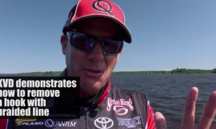 Kevin VanDam demonstrates how to remove a hook with braided line