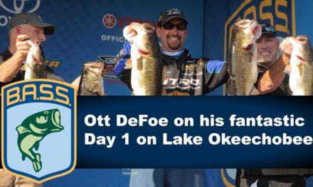 Ott DeFoe on his 31 pound Day 1 bag on Lake Okeechobee