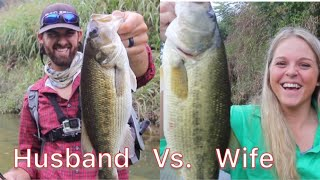 Husband vs. Wife BASS FISHING CHALLENGE! Winner gets new FAVORITE Rod!!!!