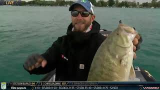 Bassmaster – Brandon Lester lands two good smallmouth on Day 1 at St. Clair