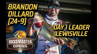 Bassmaster – Brandon Dillard leads Day 1 with 24 pounds, 9 ounces at Lewisville (Bassmaster Central Open)