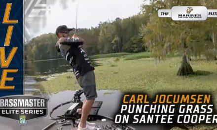 Bassmaster – Carl Jocumsen punching vegetation on Santee Cooper