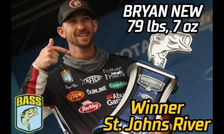 Bassmaster – Bryan New wins the 2021 Bassmaster Elite at the St. Johns River (79 pounds, 7 ounces!)