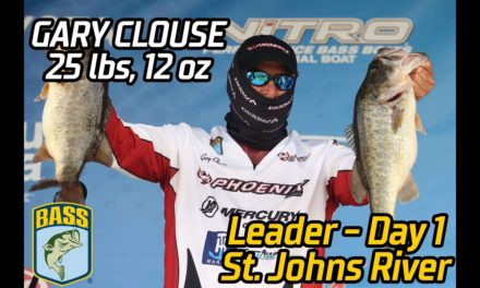 Bassmaster – Gary Clouse leads Day 1 at St. Johns River (25 pounds, 12 ounces!)