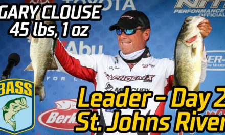 Bassmaster – Gary Clouse leads after Day 2 at the St. Johns River (45 pounds, 1 ounce!)