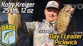 Bassmaster – Koby Kreiger leads Day 1 at Pickwick (25 pounds, 12 ounces!)