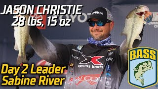 Bassmaster – Jason Christie leads Day 2 at the Sabine River (28 lbs, 15 oz)