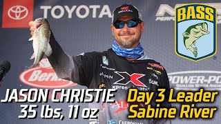 Bassmaster – Jason Christie leads Day 3 at the Sabine River (35 lbs, 11 oz)