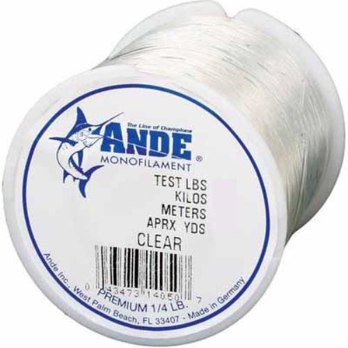 Ande premium monofilament clear 1 8 spool 12lb angler hq for Ande fishing line